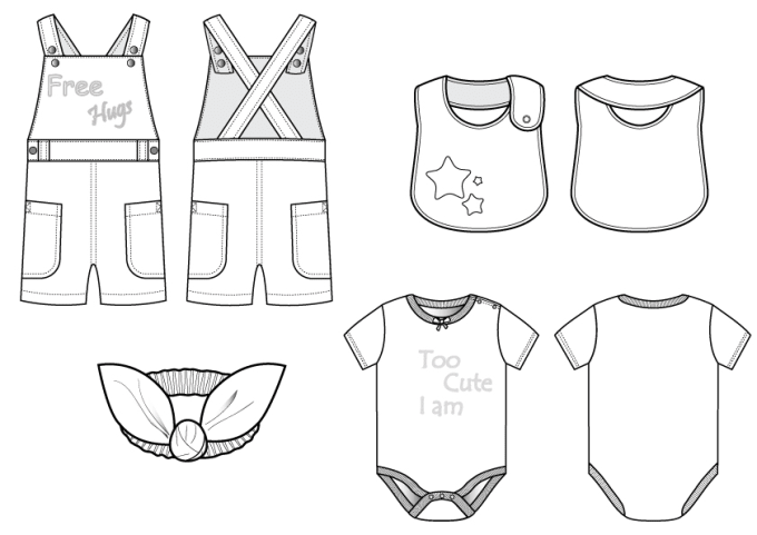 Draw technical fashion illustration for baby clothing