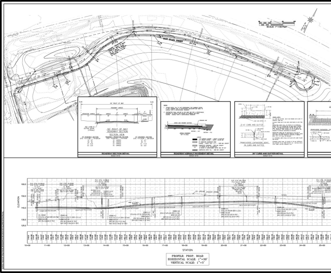Create road plan, profile and cross sections by