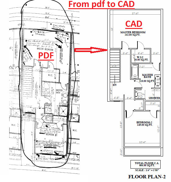 Convert hand drawings to autocad, pdf to cad, drafting