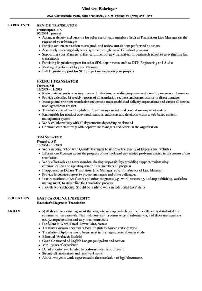 translator resume sample doc
