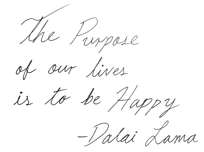 Hand draw an inspirational quote in cursive letters by