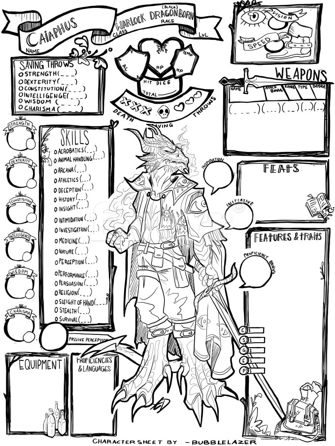 Draw your dungeons and dragons character on a custom