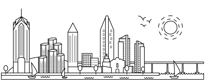 Draw skyline illustration of your hometown, city in lines