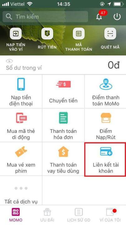 liên kết tài khoản ngân hàng với ví điện tử momo