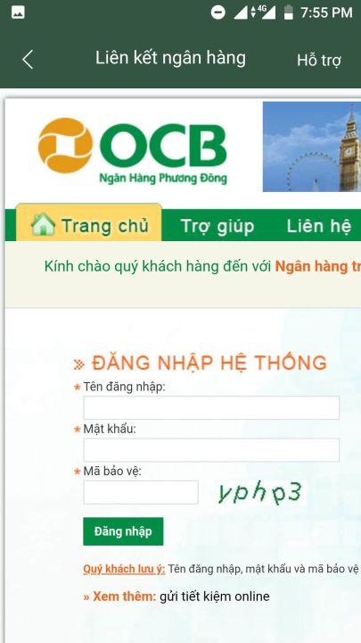 liên kết ví điện tử momo với ngân hàng ocb 1