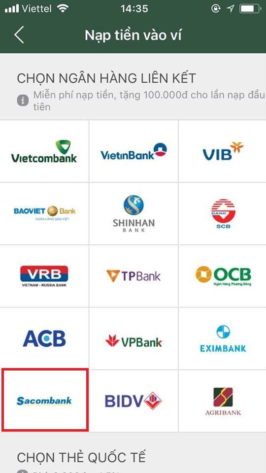 liên kết ví điện tử momo với ngân hàng sacombank