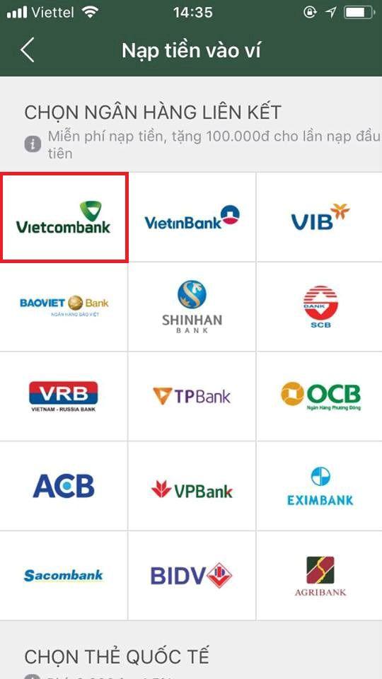 liên kết ví điện tử momo với ngân hàng vietcombank 1