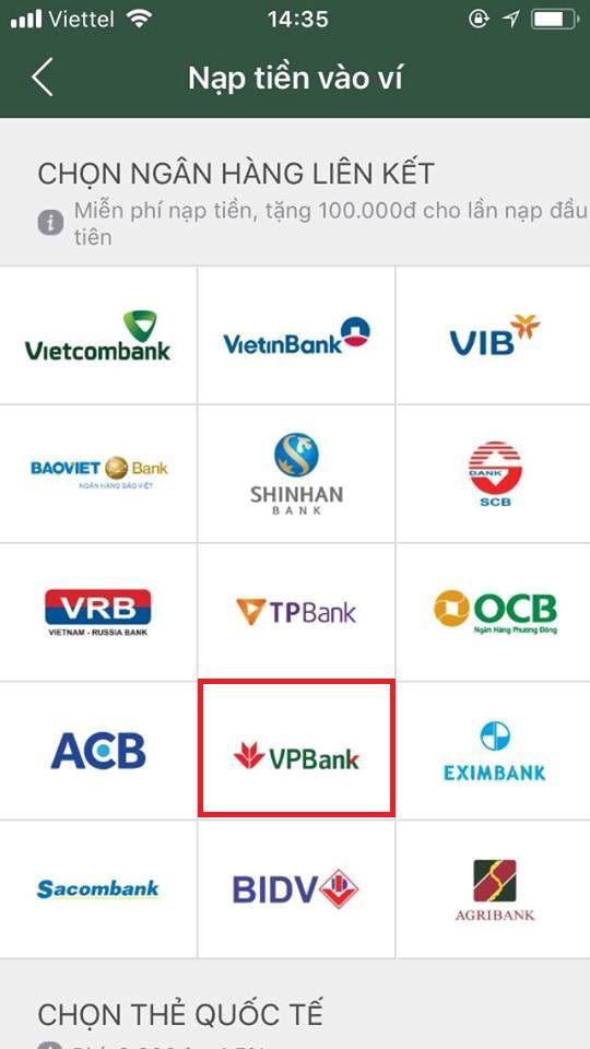 liên kết ví điện tử momo với ngân hàng vpbank