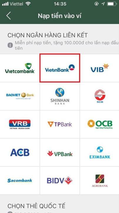 liên kết ví momo với ngân hàng vietinbank