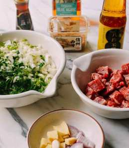 Steak Bites with Miso Ginger Dressing
