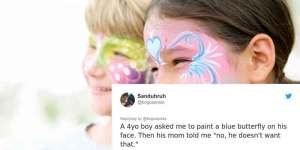 Clown calls out a mother who refused to let her son have blue butterfly face paint