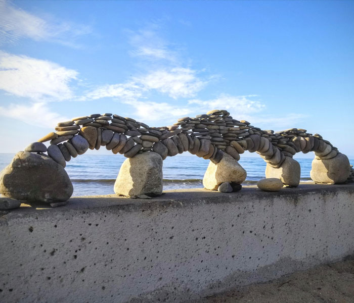 Saw These Stacked Stone Arches At The Beach This Morning