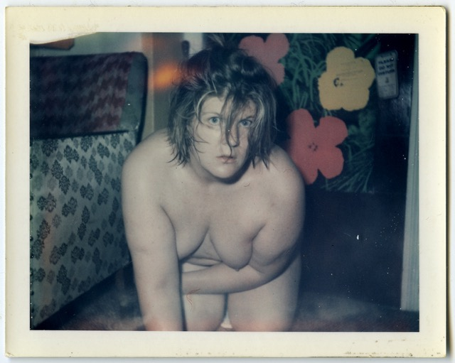 Brigid Berlin, Untitled (Self-Portrait with Flowers), ca. 1971-1973, Polaroid.