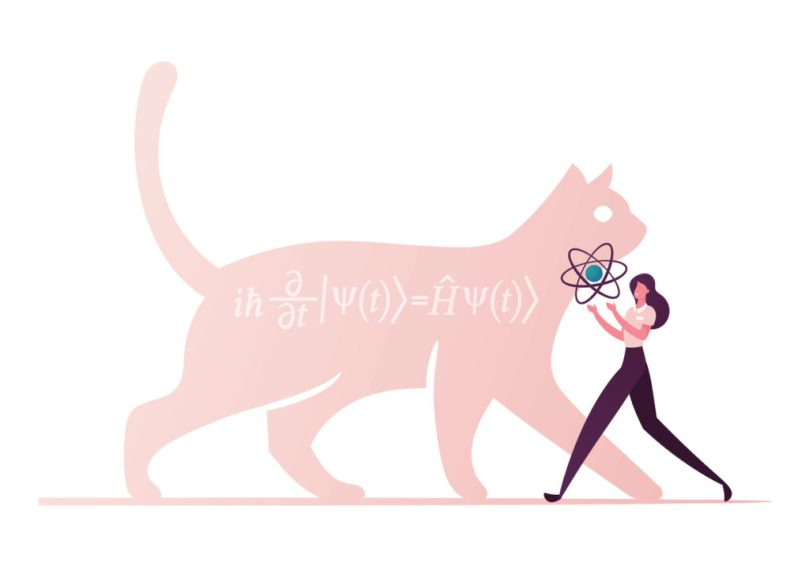 Cat of Schrodinger Equation, Physics Formula, Schrödinger Superposition Experiment in Quantum Mechanics. Female Character Carry Atom Model. Contemporary Science Concept. Cartoon Vector Illustration