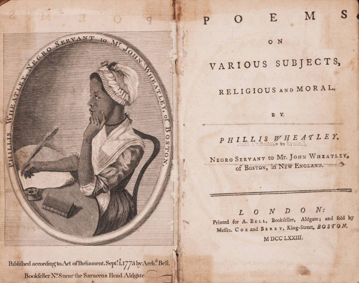 frontispiece and title page showing an etching of Phillis Wheatley on the left and title and publishing info on the right