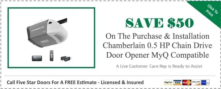 Chamberlain 0.5 HP Chain Drive Garage Door Opener MyQ Compatible