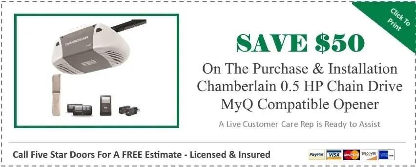 Chamberlain 0.5 HP Chain Drive MyQ Compatible Garage Door Opener