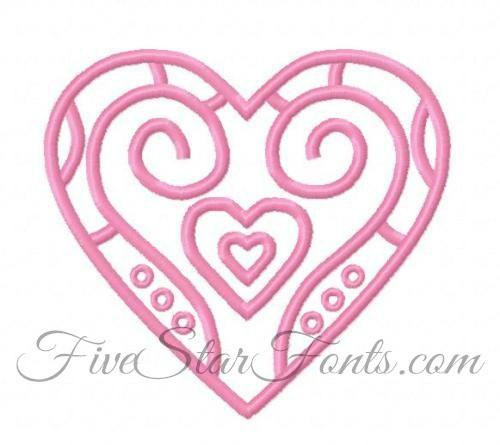 Art Deco Embroidery Heart Design
