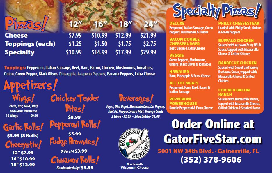 Pizza Delivery and Pizza Takeaway for Gainesville NW 34th Street - Five Star Pizza