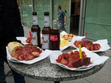 Tim's colleagues took us to the best currywurst shop in town