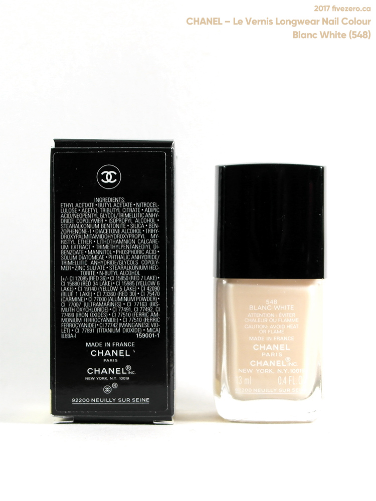 Chanel Le Vernis Longwear Nail Colour in Blanc White (548), label