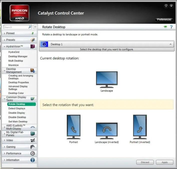 كيفية اعادة شاشة الكمبيوتر الى وضعها الطبيعي للحواسيب العاملة بكارت شاشة AMD