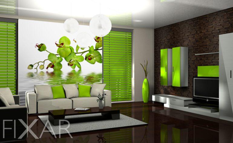 Extravagante grne Orchidee  Fototapete frs Wohnzimmer