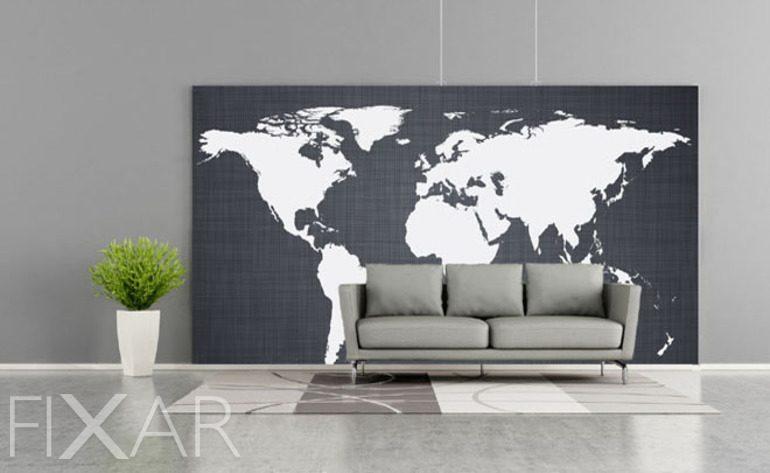 Monochrome Kontinente  Fototapete mit Weltkarte  Fototapeten  FIXARde