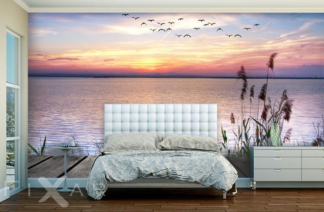Romatischer Sonnenuntergang  Fototapete fr Schlafzimmer