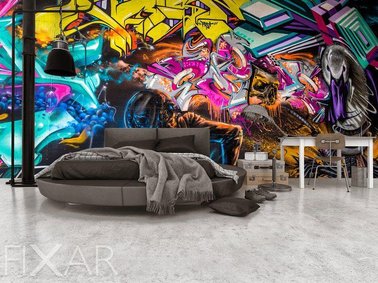 Farbe Kraft und ExpressionGlanz des Graffitis  Fototapeten graffiti  Fototapeten  FIXARde