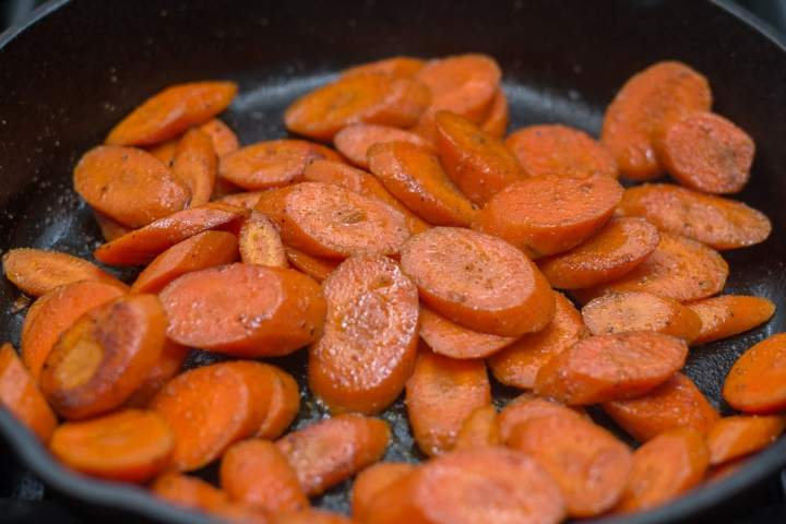 Fixed on Fresh - Quick and Easy Maple Bacon Carrots - sauté the carrots