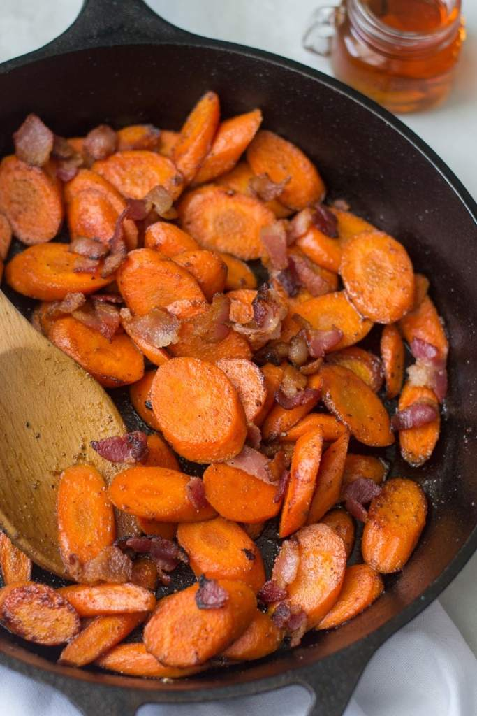 Maple glazed carrots sauteed with bacon