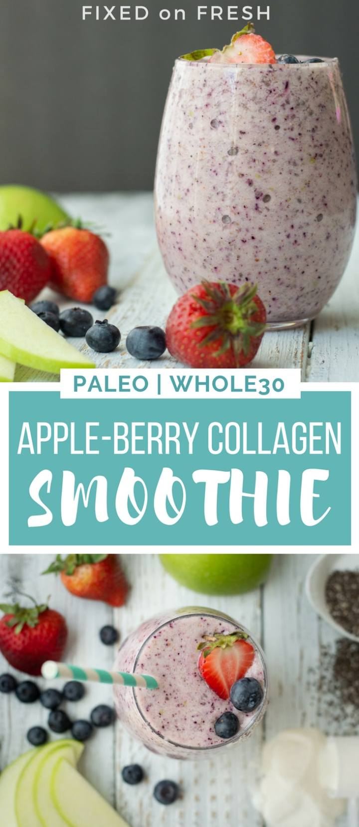 This Apple Berry Collagen Smoothie is a high fiber, high protein breakfast or snack on the go. The collagen protein is amazing for hair, skin, nails and joints.
