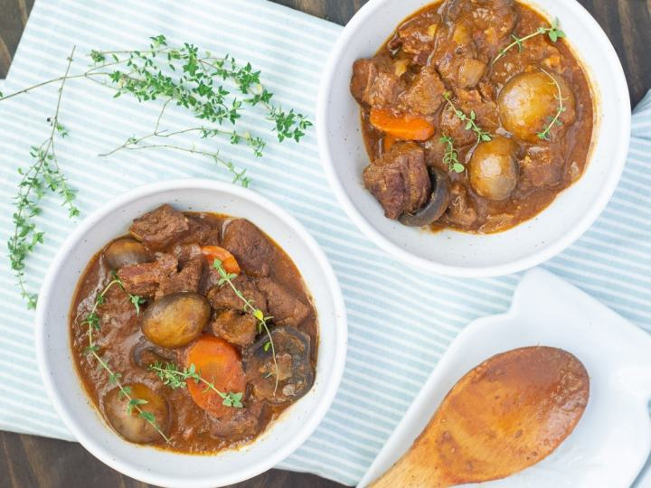 Fixed on Fresh - Beef Burgundy {Beef Bourguignon) - Healthy one pot hearty dinner for the family