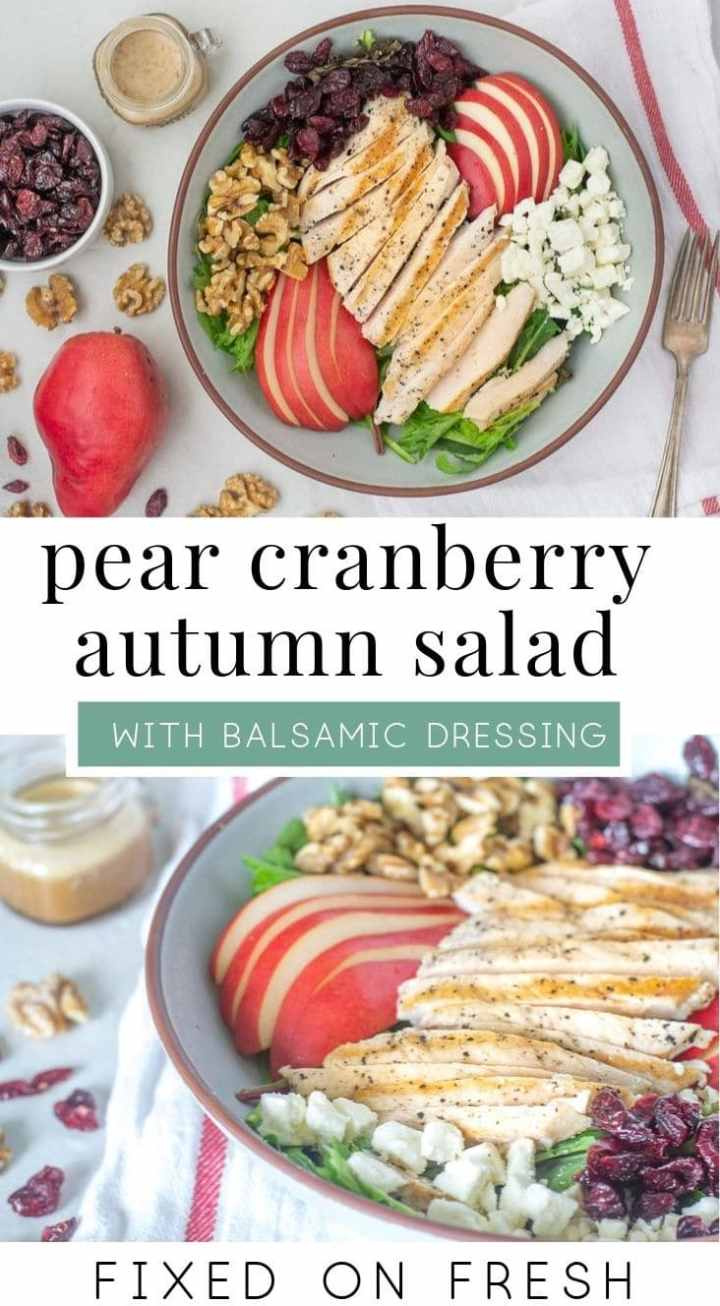 Easy autumn salad recipe with pears, cranberries, walnuts and feta and drizzled with balsamic dressing. Enjoy this healthy lunch all fall long! #autumn #pearsalad