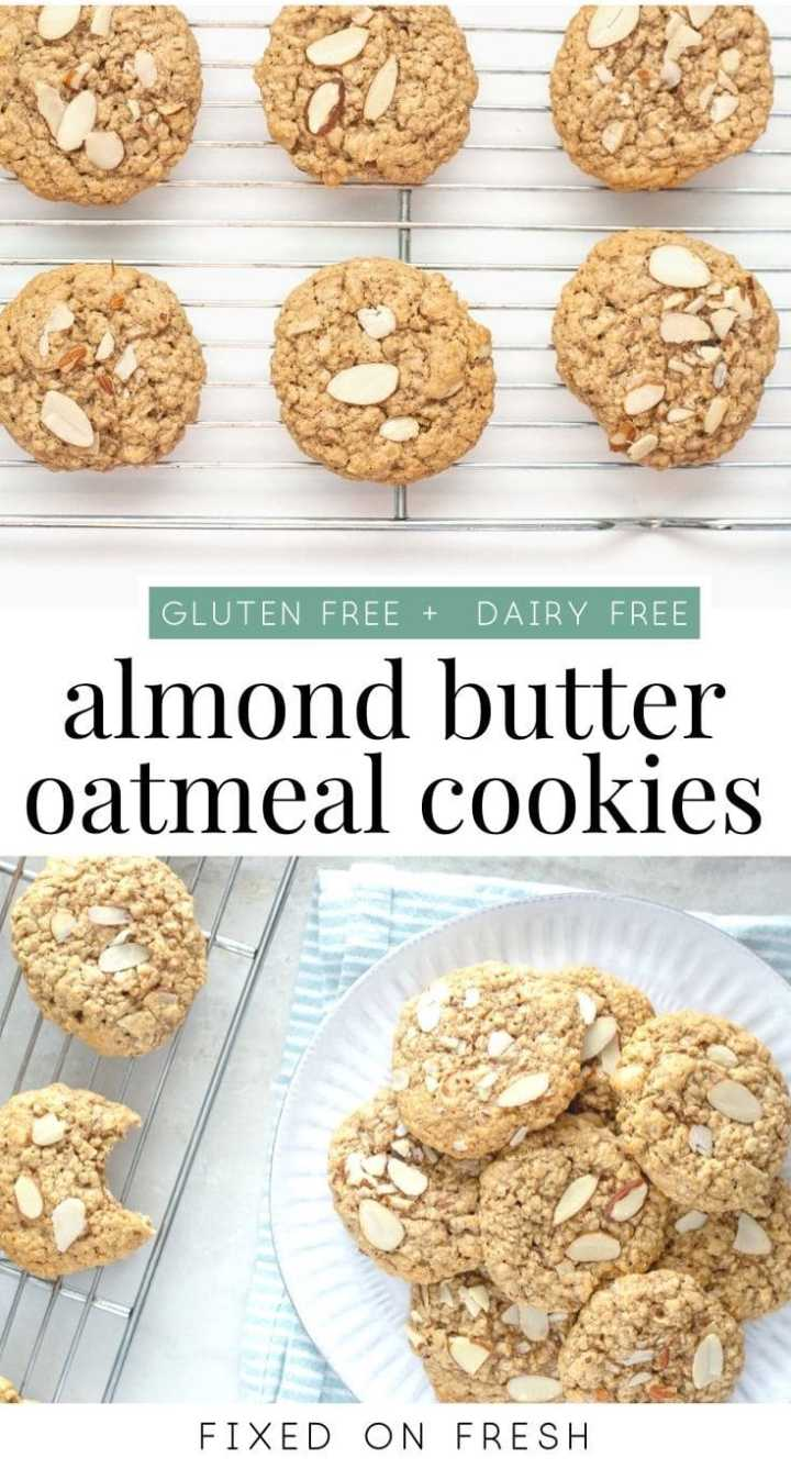 Chewy oatmeal cookies loaded with almond butter. A healthier oatmeal cookie recipe that's gluten free and diary free makes the perfect Christmas cookie recipe. #cookierecipe #glutenfree