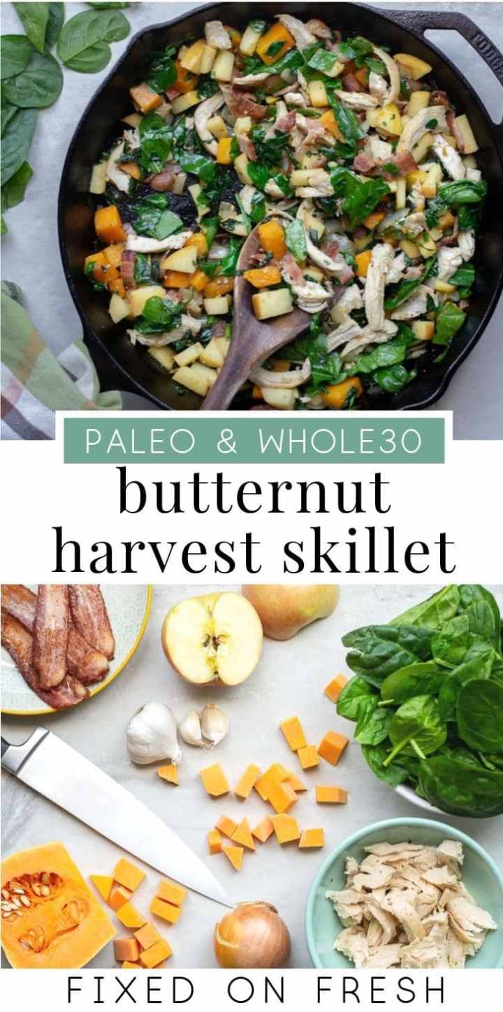 A quick and easy healthy skillet meal, Paleo Harvest Skillet is delicious and nutritious. Made with butternut squash, spinach, chicken, bacon and apples, it's the perfect fall healthy weeknight dinner. #paleo #whole30recipe