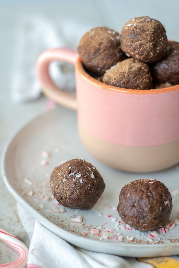 Peppermint Mocha Protein Balls are sweetened with dates and cocoa powder and protein boosted with collagen peptides. A quick on-the-go, healthy, no bake snack that is Paleo, Whole30, Gluten Free and Dairy Free.