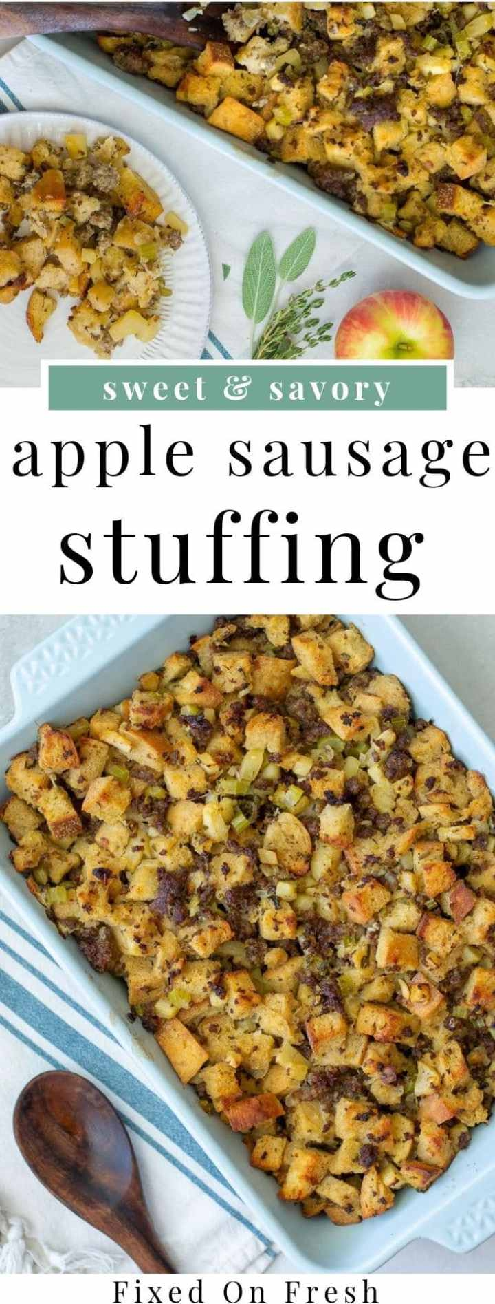 Apple Sausage Stuffing is an easy homemade stuffing recipe that you can make ahead and enjoy the next day. This will become your favorite fall and Thanksgiving recipe in no time! #thanksgiving #stuffing #fallrecipes