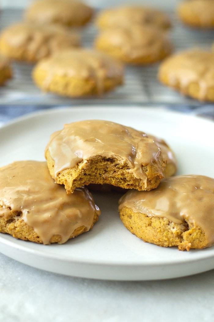 Bakery soft pumpkin cookies with maple glaze