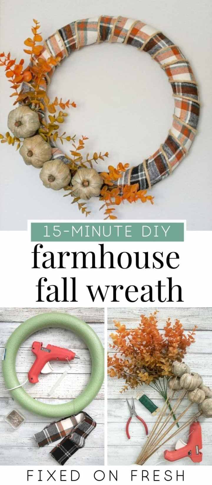 Learn how to make a farmhouse inspired fall wreath using leftover fabric or ribbon and a couple stems fall stems and styrofoam pumpkins. this simple project can be made in 15 minutes and is budget friendly! #diy #fall #wreath