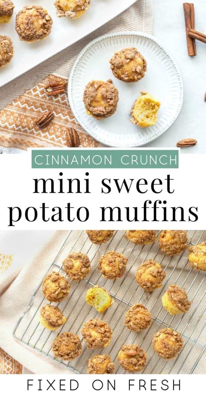 A healthier version of those mini muffins from the store, Cinnamon  Sweet Potato Mini Muffins make a tasty breakfast on the go and can be made vegan, gluten free and paleo to suit your diet. #sweetpotato #breakfast