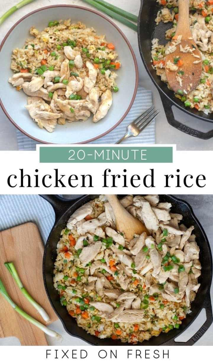 Homemade, better than takeout Chicken Fried Rice is healthier, soy free and awesome for meal prep. These best part is this simple and delicious recipe only takes 20 minutes to make! #weeknightdinner #healthyreicpe #chickendinner