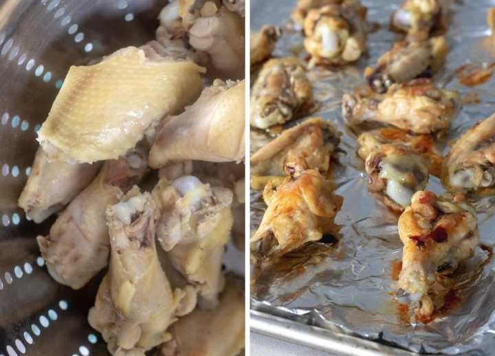 Chicken wings after parboiling and then after baking