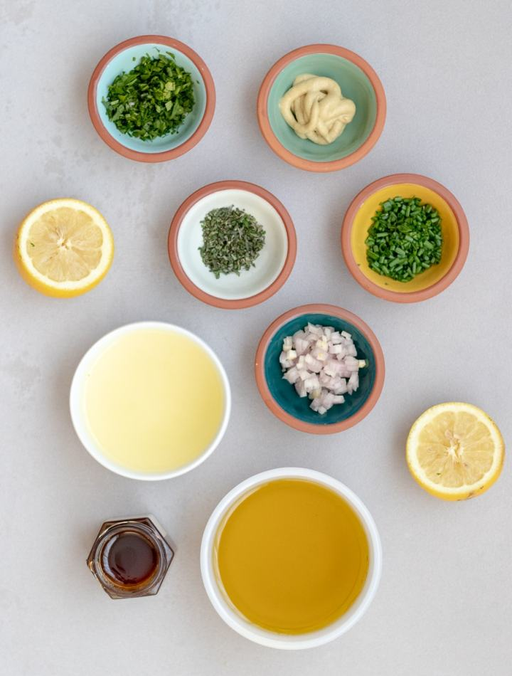 Ingredients to make Lemon Herb Vinaigrette and marinade.