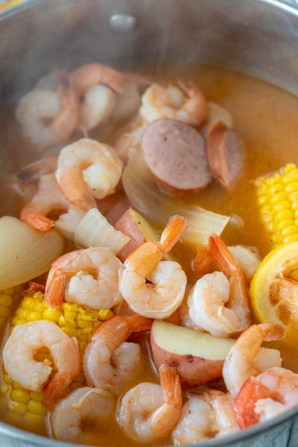 How to make Low Country Shrimp Boil on the stovetop with Old Bay Seasoning in under 40 minutes