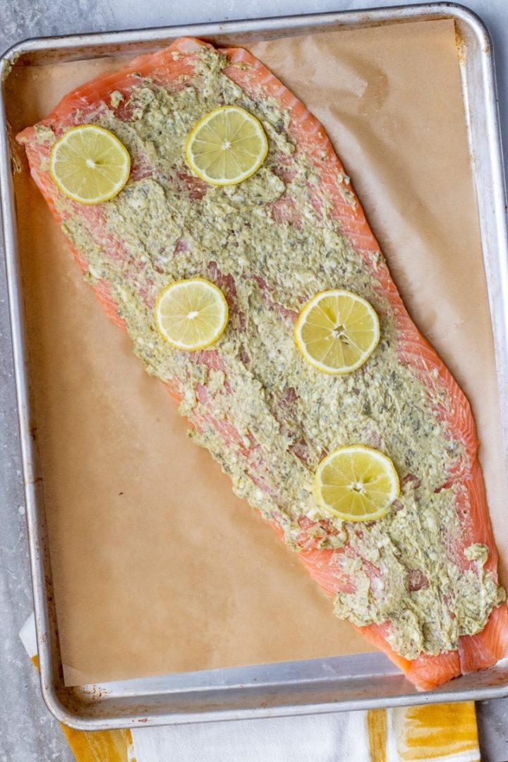 How to make pesto butter whole salmon fillet.