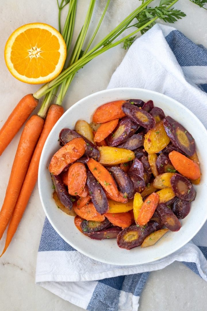 Rainbow carrots in a serving dish