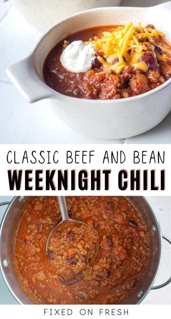 Healthy beef and bean chili is a weeknight staple at our house. It's simple to make and loaded with protein and fiber and it's super filling! Make ahead and freezer friendly too.
