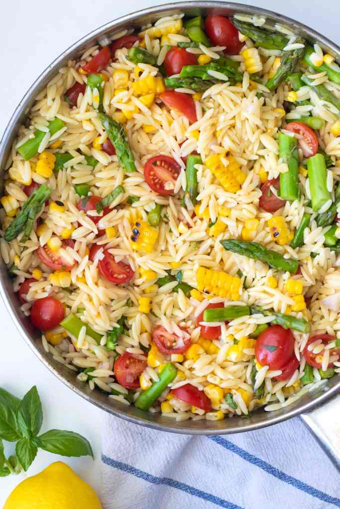 Finish the orzo salad all in the same skillet with the veggies.